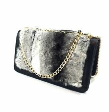 Galieti Italian Grey White Fur Leather Shoulder Evening Handbag Gold Chain