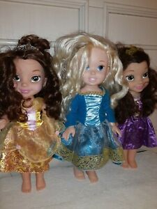 Disney Princess Petite Dolls Lot Of 3  Brunettes-Green Eyes jakks pacific