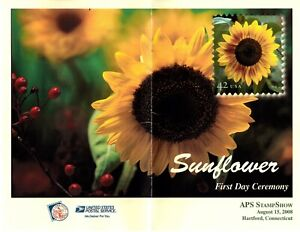 2008 US #4347 - 42c Sunflower Booklet single on Program with First Day Postmark