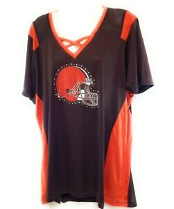 Womens NFL Majestic Cleveland Browns Rhinestone Studs Synthetic Football Shirt