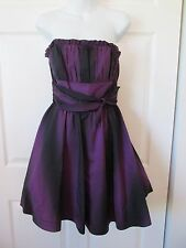 BETSEY JOHNSON Black Purple Ombre Prom Formal Dress Tulle Ruched Lined 6 Silk