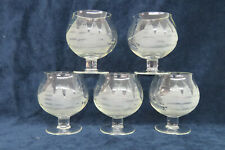 Bluenose Sailing Ship Etched Clear Glass Nautical Set of 5 Brandy Glasses 1658B