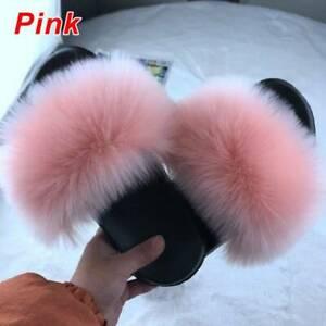 Women Flat Faux Fur Fluffy Slippers Sliders Sandals Comfy Cute Flip Flop Shoes!