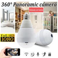 360 Degree HD 1080P Hidden Fish Eye Bulb Wifi Camera LED Light CCTV Security