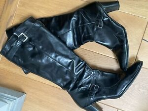 Next Knee High Black Buckle Boots Size 8