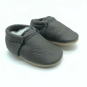 Baby Boys Girls Moccasin Slip On Shoes Leather Soft Sole Gray Size 3