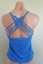 Island Escape crochet blue strappy back Add a Size push up tankini top 14