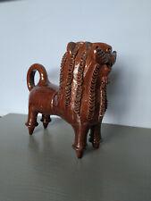 Vintage Handmade Pottery Ceramic Glaze Figurine Lion 60s Folk Pottery