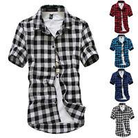 Men's Summer Fashion Casual Dress Shirt Mens Plaid Short Sleeve Shirts Tops Tee