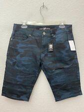 Xray Jeans Mens Camouflage Moto Denim Shorts Size 30 Navy Camo