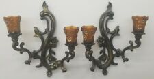 Vintage 1959 Set Homco Wall Double Candle Holder Sconce #3981 W Globes