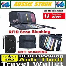 RFID Anti Scan Blocking Travel Passport Card Wallet Holder Large Pouch Bag