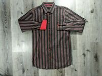 Visconti Mens Size LT Shirt Button Down Long Sleeve Flip Cuffs Striped Brown