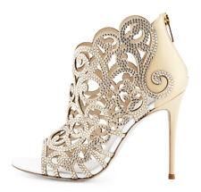 New Rene Caovilla Beige Scroll Laser-Cut Swarovski Crystals Shoes Bootie 37.5