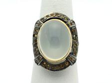 18k & .925 YG Vintage Design Oval Moonstone Fashion Ring Sz 7.5 8.2g  D988