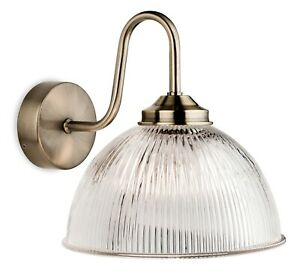 Firstlight Ashford 1 Light Wall Light,  Antique Brass with Clear Ribbed Glass