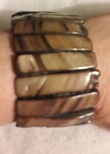 Native Brown Shell Stretchy wide Bracelet Size Average women jewelry