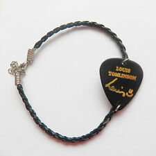 ONE DIRECTION 1D LOUIS guitar pick plectrum black LEATHER braid twist  BRACELET