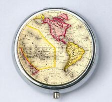 Western Hemisphere PILL case pill box pillbox holder Vintage World Map