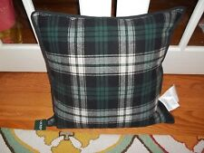 NWT Ralph Lauren Plaid Green/Black/Off White Down Filled Decorative Pillow