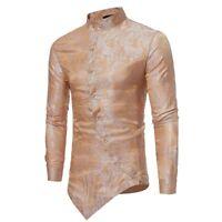 Fashion Mens Long Sleeve Shirts Slim Irregular Tee T-shirt Top Blouse