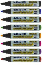 Artline 519 Whiteboard Marker Pens Dry Wipe Assorted Colours 48 Hour Cap Off X 8