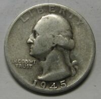 1945-S Washington Silver Quarter in Average Circulated Condition Priced Right