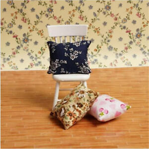 Flower Pillow Cushions For Sofa Couch Bed 1/12 Dollhouse MiniatuHCH^dm