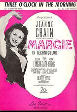 """Margie Partition de Musique """" Trois O'Horloge dans Morning """" Jeanne Crain"""