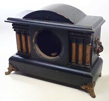 Antique Black Pillar Mantel Shelf Clock Case Parts Repair