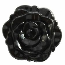 3D Stereo Double Sided Retro Rose Shape Makeup Compact Cosmetic Mirror Black DT