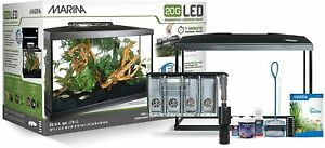 Fish Tank LED Light Aquarium Starter Kit Set 20 Gal Filter Net Conditioner Food