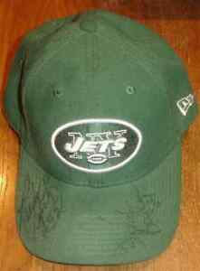 NY JETS GREEN TEAM HAT SIGNED BY CB RANDY BEVERLY #42 & TE FRED BAXTER #84 NEW