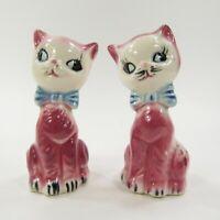 Vintage Cat Salt Pepper Shaker Set Pink blue bows Glossy ceramic Japan   INV450