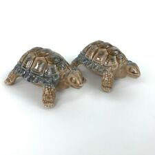 Set of 2 Wade Porcelain Turtle Tortoise Figurines Brown Blue Embossed Stamp