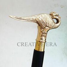 Walking Cane Stick Bird Brass Handle Victorian Style Antique Designer Wooden