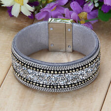 Fashion Jewelry Woman Top Magnetic Clasp Leather Crystal Bracelet Gray Wrist
