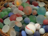 140 Vintage Glass Sea Style Beach Marbles/Pcs Frosted Display Arts Crafts Pretty