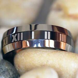 8mm Roman Numeral Tungsten Ring - All Sizes Available in 8mm width - MUST SEE!