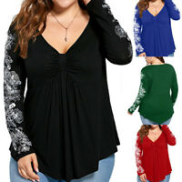Sexy Women Plus Size Long Sleeve T-shirt Blouse V Neck Casual Loose Tops XL-5XL