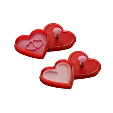 Cookie Cutters Stamps Set Of Two Heart Shaped Ideal For Everyday Use Parties