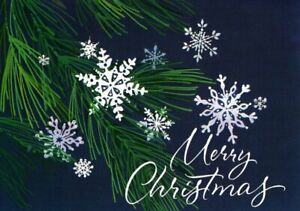 Blue Merry Christmas Snowflakes Greeting Cards By Paper Magic - Set of 12