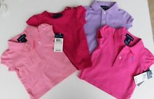NWT Girls RALPH LAUREN POLO Pink, Hot Pink, Lavendar  4 Shirts LOT size 9 Months