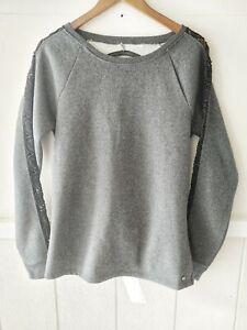 Fabletics Gray Open Back Sweatshirt Women's Sz L Long Sleeve Brushed Fleece NWT