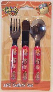 Tickety Tok - 3pc Cutlery Set - Knife Fork & Spoon - Brand New