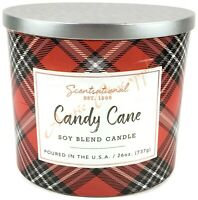 Scentsational Soy Blend Wax 26oz 100% Cotton 3 Wick Holiday Candle - Candy Cane