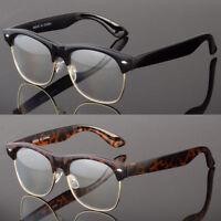 Fashion Half Frame CLEAR LENS GLASSES Black GOLD Color Vintage Style Retro