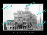 OLD LARGE HISTORIC PHOTO OF DURANGO COLORADO, VIEW OF THE STRATER HOTEL c1900