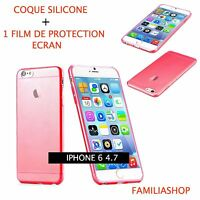 Housse étui pochette coque transparent rouge gel silicone iphone 6 4.7 + 1 film