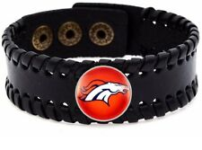 Denver Broncos Mens Womens Black Leather Bracelet Bangle Football Gift D8-1